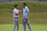 Matthew McAlpin (Royal Portrush) and Robert Brazil (Naas) during quarter final at the North of Ireland Amateur Championship, Portstewart Golf Club, Portstewart, Antrim,  Ireland. 11/07/2019<br /> Picture: Golffile | Fran Caffrey<br /> <br /> <br /> All photo usage must carry mandatory copyright credit (© Golffile | Fran Caffrey)