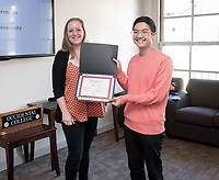 Allen Chen '19<br /> Lisa Wade, Associate Professor, Sociology<br /> Students, faculty and staff gather on Thursday, May 2, 2019 in the JSC Morrison Lounge for the Sociology Senior Comps presentations, awards ceremony, and year-end celebration.<br /> (Photo by Marc Campos, Occidental College Photographer)