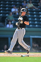 Designated hitter Cody Miller (18) of the Wofford Terriers scores a run in a SoCon Tournament game against Western Carolina on Wednesday, May 25, 2016, at Fluor Field at the West End in Greenville, South Carolina. Western won, 10-9. (Tom Priddy/Four Seam Images)