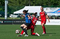 Kansas City, MO - Saturday May 13, 2017:  Hayley Raso battles with Christina Gibbons during a regular season National Women's Soccer League (NWSL) match between FC Kansas City and the Portland Thorns FC at Children's Mercy Victory Field.