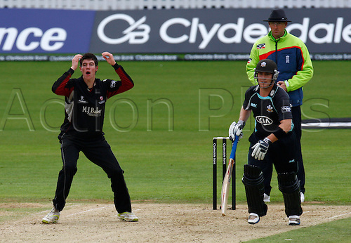 04.05.2012. Brit Oval, London, England.  George Dockrell of Somerset County Cricket ..during the Clydesdale Bank Pro40 match between Surrey and Somerset  at The Brit Oval on May 04, 2012 in London, England.........................