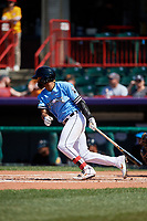 Erie SeaWolves Jose Azocar (24) at bat during an Eastern League game against the Akron RubberDucks on June 2, 2019 at UPMC Park in Erie, Pennsylvania.  Erie defeated Akron 8-5 in eleven innings in the second game of a doubleheader.  (Mike Janes/Four Seam Images)