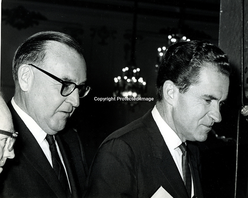"Edmund G. ""Pat"" Brown and Richard Nixon at 1962 debate while running for Governor of California..Won by Brown. (photo by Ron Riesterer)"