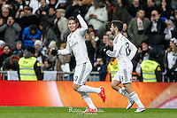 Real Madrid's Isco and James  celebrates a goal