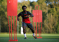 Pictured: Wilfried Bony goes through his medical at the Fairwood Training Ground, Wales, UK. Thursday 31 August 2017<br />Re: Wilfried Bony has signed a contract with Swansea City FC.