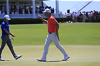 Paul Casey (ENG) sinks his putt on the 9th green during Saturday's Round 3 of the 118th U.S. Open Championship 2018, held at Shinnecock Hills Club, Southampton, New Jersey, USA. 16th June 2018.<br /> Picture: Eoin Clarke | Golffile<br /> <br /> <br /> All photos usage must carry mandatory copyright credit (&copy; Golffile | Eoin Clarke)