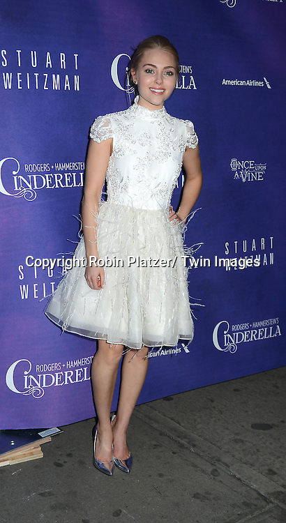 AnnaSophia Robb in Alice & Olivia white dress attends Rogers +  Hammerstein's Cinderella Broadway Opening night on March 3, 2013 at the Broadway Theatre in New York City.