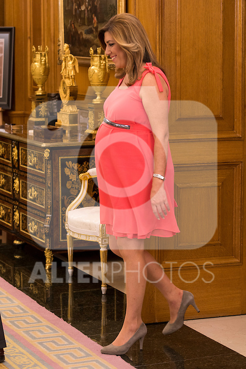 President of the Government of Andalucia Susana Diaz attends a Royal Audience with King Felipe VI of Spain at Zarzuela Palace in Madrid, Spain. July 09, 2015.<br />  (ALTERPHOTOS/BorjaB.Hojas)