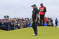 Shane Lowry (IRL) on the 15th green during Sunday's Final Round of the 148th Open Championship, Royal Portrush Golf Club, Portrush, County Antrim, Northern Ireland. 21/07/2019.<br /> Picture Eoin Clarke / Golffile.ie<br /> <br /> All photo usage must carry mandatory copyright credit (© Golffile | Eoin Clarke)