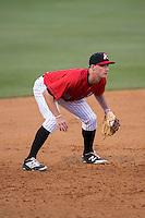 Kannapolis Intimidators third baseman Cody Daily (31) on defense against the Hickory Crawdads at Kannapolis Intimidators Stadium on April 10, 2016 in Kannapolis, North Carolina.  The Intimidators defeated the Crawdads 10-3.  (Brian Westerholt/Four Seam Images)
