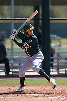 Oakland Athletics second baseman Yerdel Vargas (6) during a Minor League Spring Training game against the Chicago Cubs at Sloan Park on March 19, 2018 in Mesa, Arizona. (Zachary Lucy/Four Seam Images)