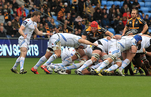 09.04.2016. Ricoh Arena, Coventry, England. European Champions Cup. Wasps versus Exeter Chiefs.  Exeters No8 Thomas Waldrom controls the ball at the back of a scrum.