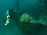 Apo Reef, Sulu Sea -- Diver at the bow of Apo Wreck.