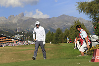 Matthew Fitzpatrick (ENG) walks onto the 18th tee during Saturday's Round 3 of the 2018 Omega European Masters, held at the Golf Club Crans-Sur-Sierre, Crans Montana, Switzerland. 8th September 2018.<br /> Picture: Eoin Clarke | Golffile<br /> <br /> <br /> All photos usage must carry mandatory copyright credit (&copy; Golffile | Eoin Clarke)