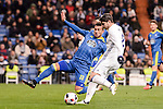 Real Madrid's Alvaro Morata and Celta de Vigo's Gustavo Daniel Cabral during Copa del Rey match between Real Madrid and Celta de Vigo at Santiago Bernabeu Stadium in Madrid, Spain. January 18, 2017. (ALTERPHOTOS/BorjaB.Hojas)