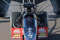 Feb. 23, 2013; Chandler, AZ, USA; NHRA top fuel dragster driver David Grubnic during qualifying for the Arizona Nationals at Firebird International Raceway. Mandatory Credit: Mark J. Rebilas-