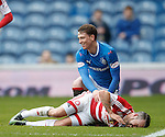 Joe Garner after tackling Dougie Imrie