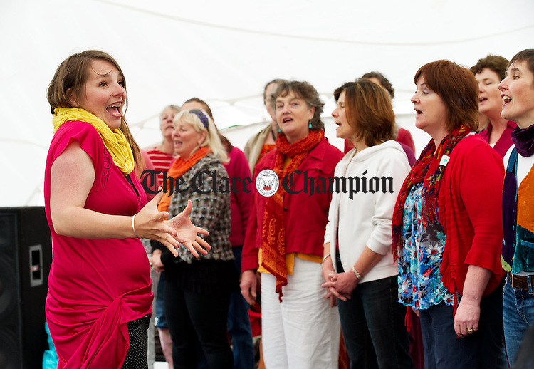 Tembre De Carteret directs a choir as part of the Iniscealtra Festival of Arts at Mountshannon. Photograph by John Kelly.
