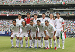 10 June 2007: Mexico's starters pose for a team photo. Front row (l to r): Alberto Medina, Jose Andres Guardado, Ramon Morales, Omar Bravo, Cuauhtemoc Blanco. Back row (l to r): Ricardo Osorio, Oswaldo Sanchez, Jose Jonny Magallon, Carlos Salcedo, Gerardo Torrado, Pavel Pardo. The Honduras Men's National Team defeated the National Team of Mexico 2-1 at Giants Stadium in East Rutherford, New Jersey in a first round game in the 2007 CONCACAF Gold Cup.