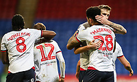 Bolton Wanderers' Josh Magennis celebrates scoring his side's fourth goal with team mate Mark Beevers <br /> <br /> Photographer Andrew Kearns/CameraSport<br /> <br /> Emirates FA Cup Third Round - Bolton Wanderers v Walsall - Saturday 5th January 2019 - University of Bolton Stadium - Bolton<br />  <br /> World Copyright &copy; 2019 CameraSport. All rights reserved. 43 Linden Ave. Countesthorpe. Leicester. England. LE8 5PG - Tel: +44 (0) 116 277 4147 - admin@camerasport.com - www.camerasport.com