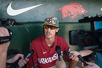 NWA Democrat-Gazette/BEN GOFF @NWABENGOFF<br /> Blaine Knight, Arkansas pitcher, talks to the press Friday, June 8, 2018, during practice for the NCAA Fayetteville Super Regional at Baum Stadium.