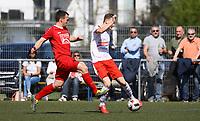 Nils Beisser (Büttelborn) zieht ab - 07.04.2019: SKV Büttelborn vs. TSV Lengfeld, Gruppenliga Darmstadt