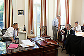 United States President Barack Obama talks on the phone with U.S. House Minority Leader Nancy Pelosi (Democrat of California) and U.S. Senate Majority Leader Harry Reid (Democrat of Nevada) in Chief of Staff Bill Daley's West Wing Office at the White House to discuss ongoing efforts in the debt limit and deficit reduction talks, Sunday, July 31, 2011. Chief of Staff Bill Daley, National Economic Council Director Gene Sperling, and Treasury Secretary Timothy  Geithner. .Mandatory Credit: Pete Souza - White House via CNP