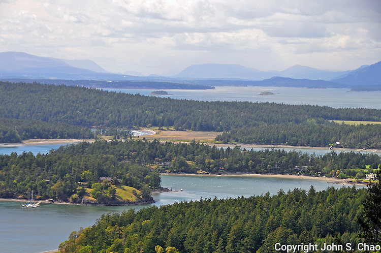 NW view from Mount Young, English Camp, San Juan Island National Historic Park, San Juan Island, Washington State.