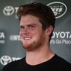 Sam Darnold #14, New York Jets rookie quarterback, laughs as he speaks with the media after a day of Training Camp at the Atlantic Health Jets Training Center in Florham Park, NJ on Saturday, Aug. 18, 2018.