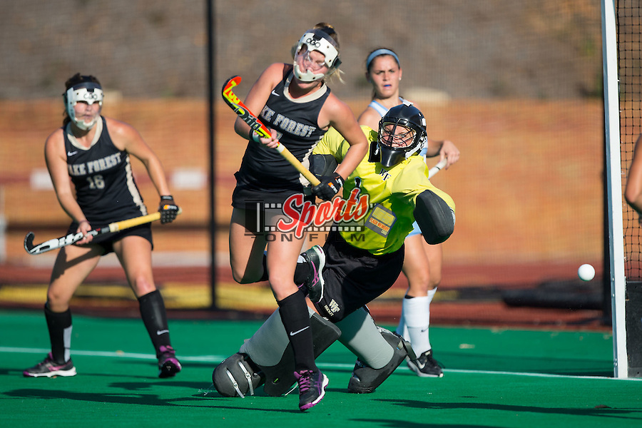 Valerie Dahmen (1) of the Wake Forest Demon Deacons watches a shot go wide of the goal during second half action against the North Carolina Tar Heels at Kentner Stadium on October 23, 2015 in Winston-Salem, North Carolina.  The Demon Deacons defeated the Tar Heels 3-2.  (Brian Westerholt/Sports On Film)