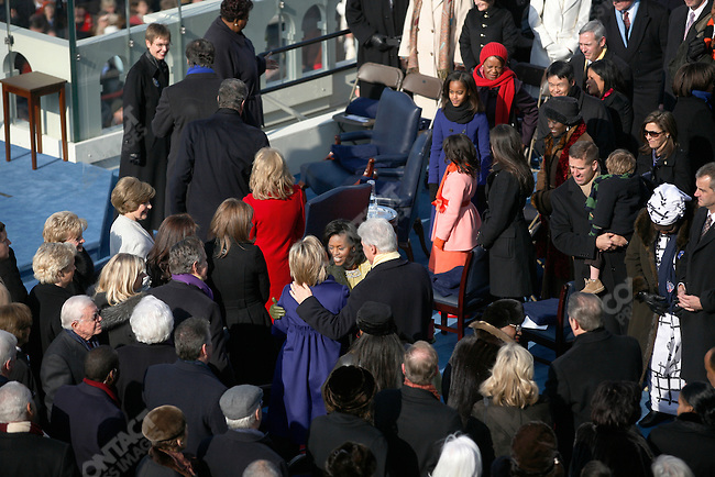 Inauguration of Barack Obama as the 44th President of the United States of America, Michelle Obama greets Bill and Hillary Clinton, Washington, D.C., January 20, 2009