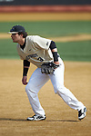 Wake Forest Demon Deacons first baseman Bobby Seymour (3) on defense against the Louisville Cardinals at David F. Couch Ballpark on March 18, 2018 in  Winston-Salem, North Carolina.  The Demon Deacons defeated the Cardinals 6-3.  (Brian Westerholt/Sports On Film)