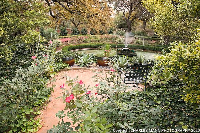 Douglas Chandor Garden Patio With Roses And Fountain View