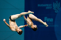 Picture by Rogan Thomson/SWpix.com - 17/07/2017 - Diving - Fina World Championships 2017 -  Duna Arena, Budapest, Hungary - Tom Daley and Dan Goodfellow of Great Britain compete in the Men's 10m Synchro Platform Preliminary.