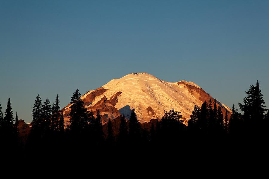 Mount Rainier at sunrise from near Tipsoo Lake, Mount Rainier National Park, Washington, USA