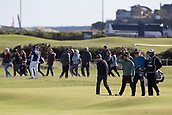 5th October 2017, The Old Course, St Andrews, Scotland; Alfred Dunhill Links Championship, first round; Actor Jamie Dornan has a big gallery as he walks down the fourth hole on the Old Course, St Andrews during the first round at the Alfred Dunhill Links Championship