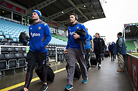 Charlie Ewels and the rest of the Bath Rugby team arrive at the stadium. Aviva Premiership match, between Harlequins and Bath Rugby on March 2, 2018 at the Twickenham Stoop in London, England. Photo by: Patrick Khachfe / Onside Images