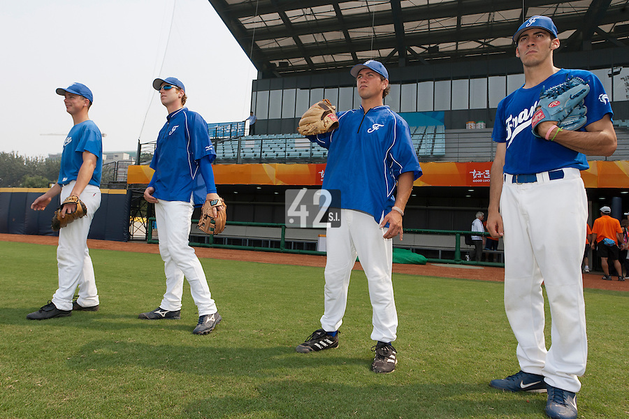 17 August 2007: Anthony Piquet, Nicolas Dubaut, Philippe Lecourieux, Matthieu Brelle Andrade are seen during the Good Luck Beijing International baseball tournament (olympic test event) at the Wukesong Baseball Field in Beijing, China.