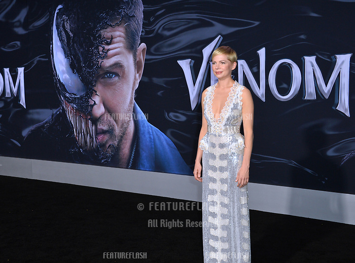 """LOS ANGELES, CA. October 01, 2018: Michelle Williams at the world premiere for """"Venom"""" at the Regency Village Theatre.<br /> Picture: Paul Smith/Featureflash"""