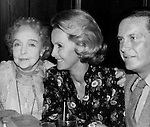 Lillian Gish with Dina Merrill and Cliff Robertson attending the DGA Awards at Luchows Restaurant in New York City. January 1981