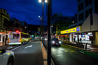 Courtenay Place at 5pm, Saturday during Level 3 lockdown for the COVID-19 pandemic in Wellington, New Zealand on Saturday, 2 May 2020. Photo: Dave Lintott / lintottphoto.co.nz