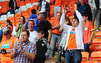 Blackpool fans celebrate their sides win<br /> <br /> Photographer Kevin Barnes/CameraSport<br /> <br /> Football - The EFL Sky Bet League Two - Blackpool v Exeter City - Saturday 6th August 2016 - Bloomfield Road - Blackpool<br /> <br /> World Copyright &copy; 2016 CameraSport. All rights reserved. 43 Linden Ave. Countesthorpe. Leicester. England. LE8 5PG - Tel: +44 (0) 116 277 4147 - admin@camerasport.com - www.camerasport.com