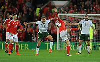 Wales Tom Lawrence and Irelands Jeff Hendrick challenge for the header <br /> <br /> Photographer Ian Cook/CameraSport<br /> <br /> FIFA World Cup Qualifying - European Region - Group D - Wales v Republic of Ireland - Monday 9th October 2017 - Cardiff City Stadium - Cardiff<br /> <br /> World Copyright &copy; 2017 CameraSport. All rights reserved. 43 Linden Ave. Countesthorpe. Leicester. England. LE8 5PG - Tel: +44 (0) 116 277 4147 - admin@camerasport.com - www.camerasport.com