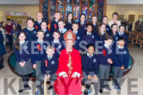 Pupils from Kilcummin NS with Bishop Ray Browne and teacher Breda Moynihan at their Confirmation in Our Lady of Lourdes church Kilcummin on Tuesday