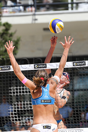 15.06.2012 Rome, Italy. 2012 Beach Volleyball World Championships Rome June 15th. Greta Cicolari and Marta Menegatti (ITA) vs  Laura Giombini and Viktoria Orsi Toth (ITA).