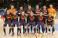 FC Barcelona Alusport's team photo with Cristian Dominguez, Aicardo, Ari Santos, Gabriel Da Silva, Lin, Sergio Lozano, Igor Raphael Lima de Souza, Saad Assis, Marc Tolra, Wilde Gomes, Eric Martel and Paco Sedano during Spanish National Futsal League match.November 24,2012. (ALTERPHOTOS/Acero) /NortePhoto