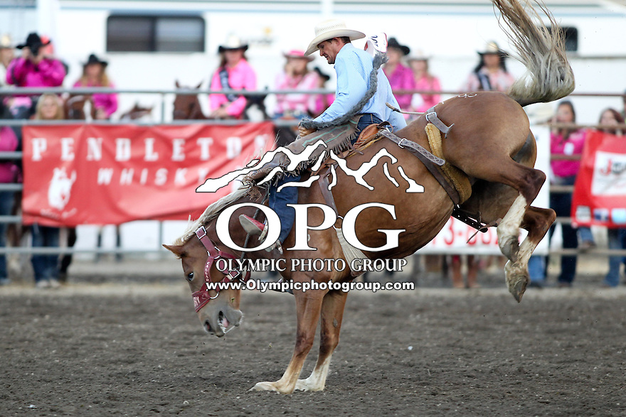 2013-08-24:  Max Filippini riding the horse Twilight Moon scored a 76 in the Saddle Bronc Riding Saturday at the Kitsap County Stampede Rodeo in Bremerton, Washington.