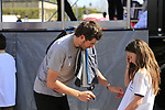 Luke Rowe (WAL) Team Sky signs autographs for fans at the Team Presentation for the upcoming 115th edition of the Paris-Roubaix 2017 race held in Compiegne, France. 8th April 2017.<br /> Picture: Eoin Clarke | Cyclefile<br /> <br /> <br /> All photos usage must carry mandatory copyright credit (&copy; Cyclefile | Eoin Clarke)