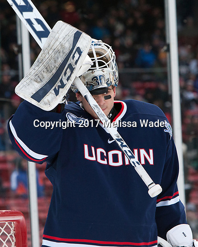 Adam Huska (UConn - 30) - The University of Maine Black Bears defeated the University of Connecticut Huskies 4-0 at Fenway Park on Saturday, January 14, 2017, in Boston, Massachusetts.