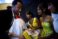 One of the event managers briefs a group of contenders for the crown during the 2009 Miss Ethiopia beauty pageant held at the Intercontinental Hotel in Ethiopia's Capital Addis Ababa on Sunday January 18 2009.